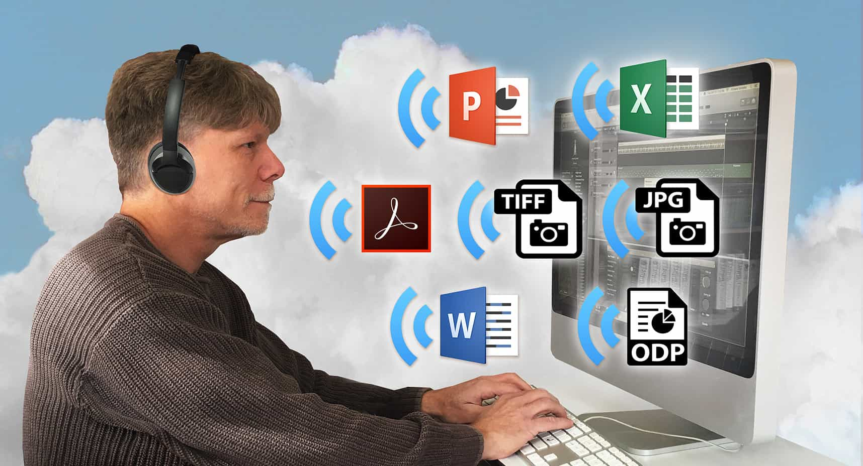 Photo montage of man with headphones at a desktop computer. Document icons with audio symbols flow from monitor. Clouds in background.