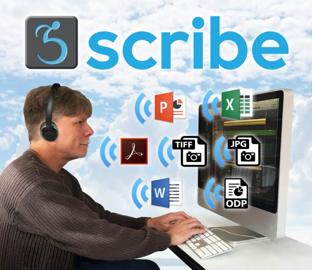 "Computer user with large monitor, headphone, floating ""talking"" file icons, large Scribe logo, clouds in background"