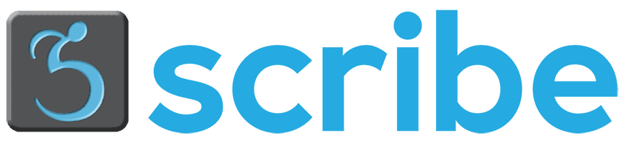 Scribe logo: a dark gray square with a stylized wheelchair racer inside the square in a light blue color. To the right of the logo symbol is the word scribe.