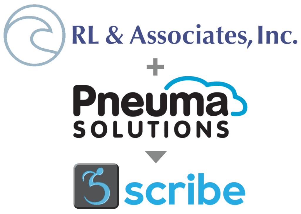 Three logos: RL & Associates + Pneuma Solutions = Scribe