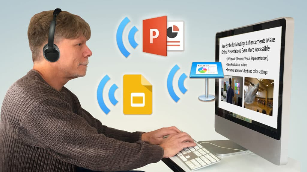 Person in front of a computer screen with floating icons of slide presentation program icons and symbols denoting sound