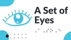 This logo for A Set of Eyes (ASOE) includes an illustration of an open eye and braille dots