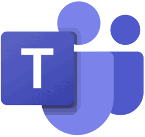 Microsoft Teams logo has the letter T inside a purple square, flanked by purple icons of two persons.